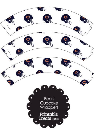 Chicago Bears Football Helmet Cupcake Wrappers from PrintableTreats.com