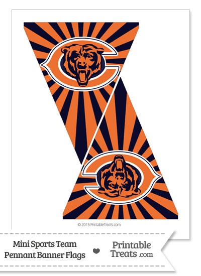 Chicago Bears Mini Pennant Banner Flags from PrintableTreats.com