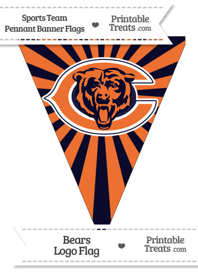 Chicago Bears Pennant Banner Flag from PrintableTreats.com