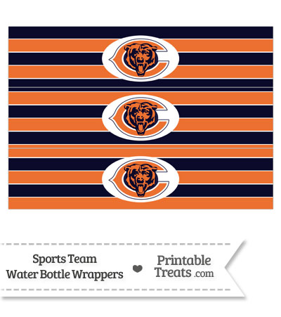 Chicago Bears Water Bottle Wrappers from PrintableTreats.com