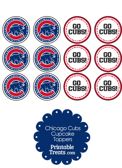 Chicago Cubs Cupcake Toppers from PrintableTreats.com