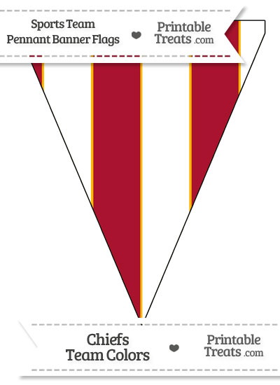 Chiefs Colors Pennant Banner Flag from PrintableTreats.com