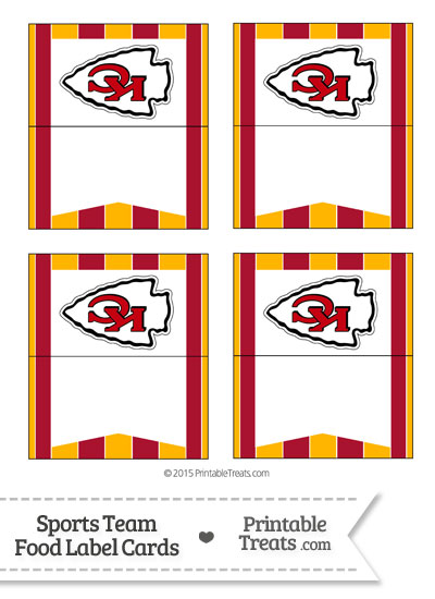 Chiefs Food Label Buffet Cards from PrintableTreats.com