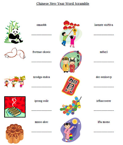 chinese new year word scramble