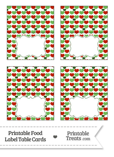 Christmas Hearts Food Labels from PrintableTreats.com
