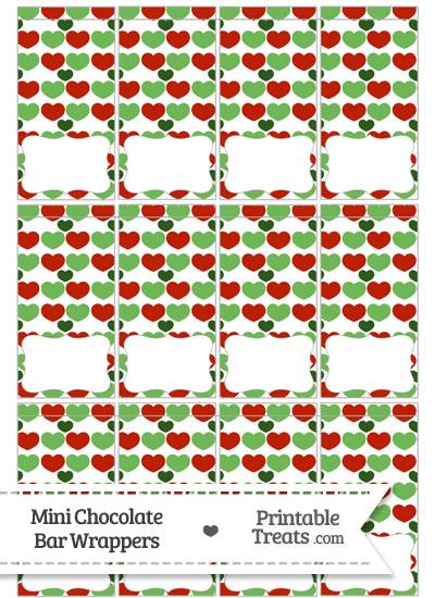 Christmas Hearts Mini Chocolate Bar Wrappers from PrintableTreats.com