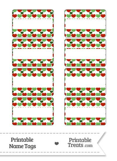 Christmas Hearts Name Tags from PrintableTreats.com