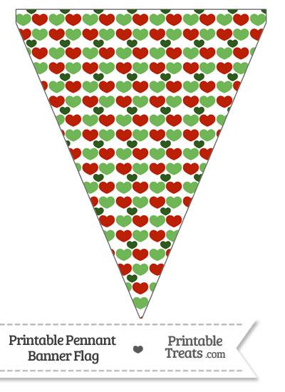 Christmas Hearts Pennant Banner Flag from PrintableTreats.com