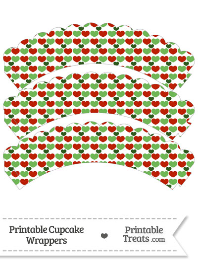 Christmas Hearts Scalloped Cupcake Wrappers from PrintableTreats.com