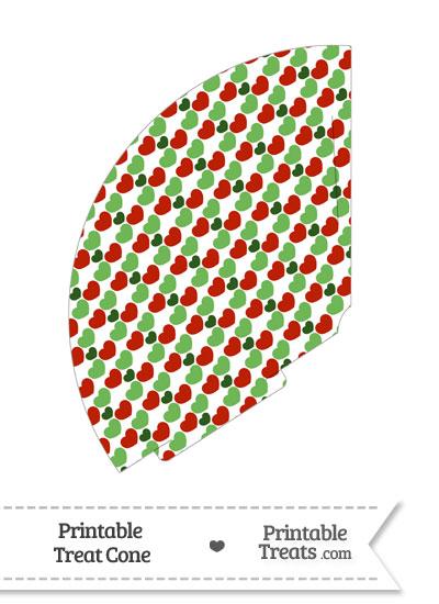 Christmas Hearts Treat Cone from PrintableTreats.com