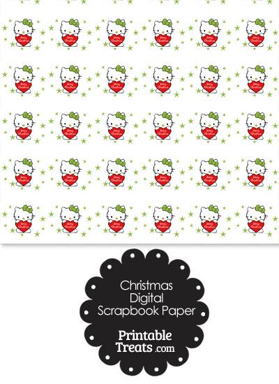 Christmas Hello Kitty Digital Scrapbook Paper from PrintableTreats.com