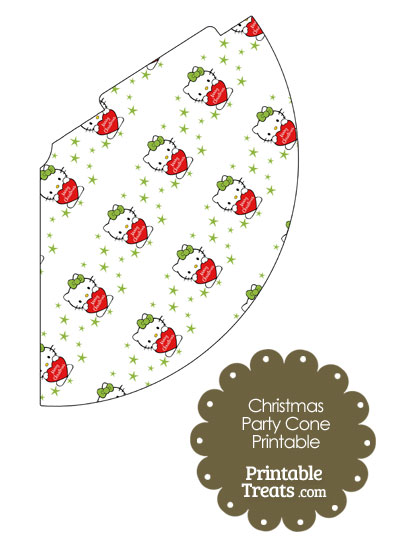 Christmas Hello Kitty Party Cone from PrintableTreats.com