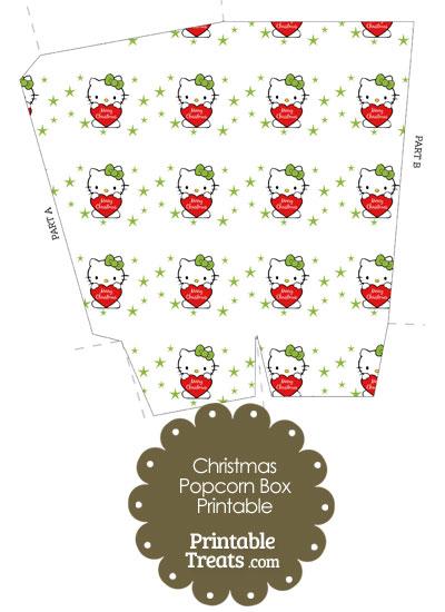 Christmas Hello Kitty Popcorn Box from PrintableTreats.com
