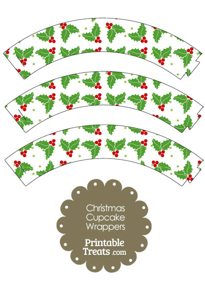 Christmas Holly Cupcake Wrappers from PrintableTreats.com