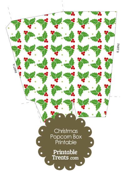 Christmas Holly Popcorn Box from PrintableTreats.com