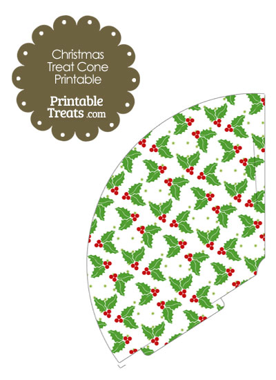 Christmas Holly Printable Treat Cone from PrintableTreats.com
