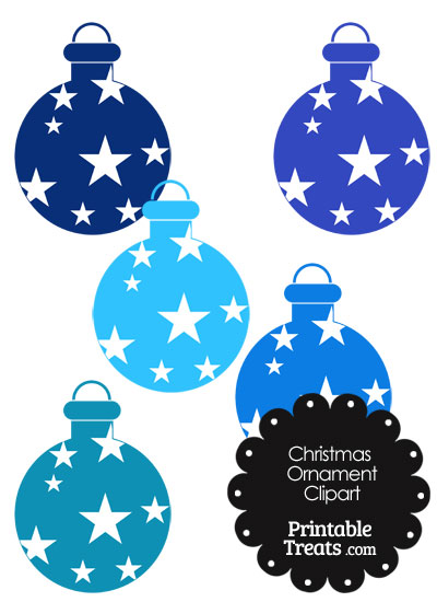 Christmas Ornament Clipart in Shades of Blue from PrintableTreats.com