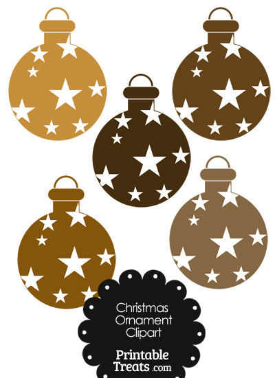 Christmas Ornament Clipart in Shades of Brown from PrintableTreats.com