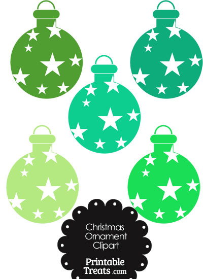 Christmas Ornament Clipart in Shades of Green from PrintableTreats.com