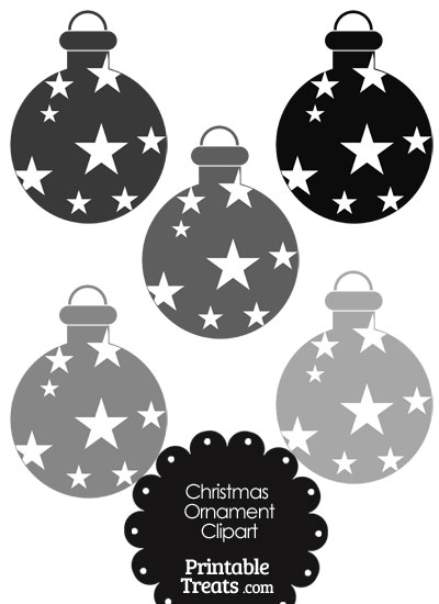 Christmas Ornament Clipart in Shades of Grey from PrintableTreats.com