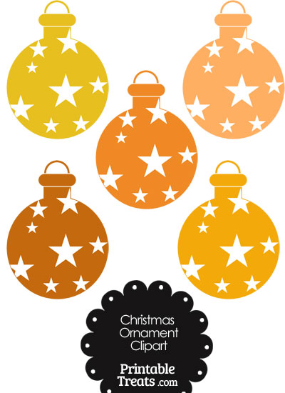 Christmas Ornament Clipart in Shades of Orange from PrintableTreats.com