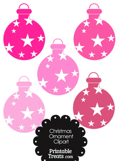 Christmas Ornament Clipart in Shades of Pink from PrintableTreats.com