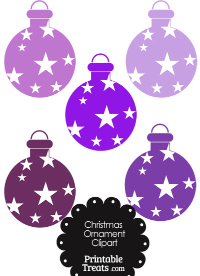 Christmas Ornament Clipart in Shades of Purple from PrintableTreats.com