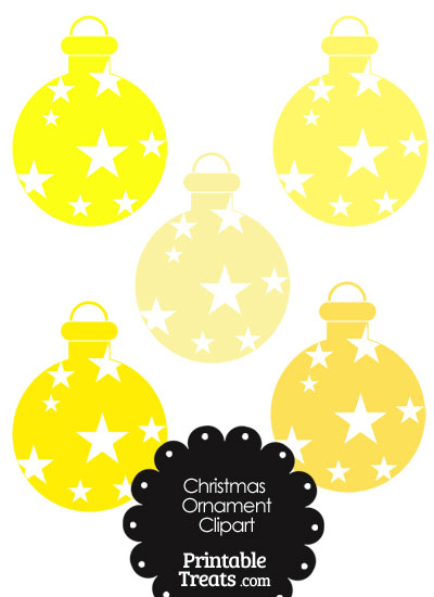 Christmas Ornament Clipart in Shades of Yellow from PrintableTreats.com