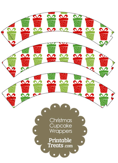 Christmas Presents Cupcake Wrappers from PrintableTreats.com