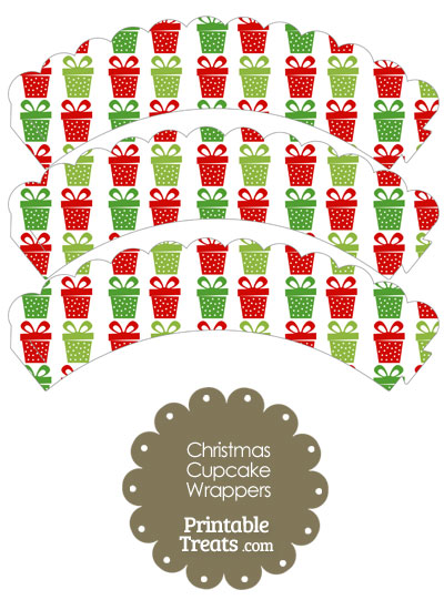 Christmas Presents Scalloped Cupcake Wrappers from PrintableTreats.com