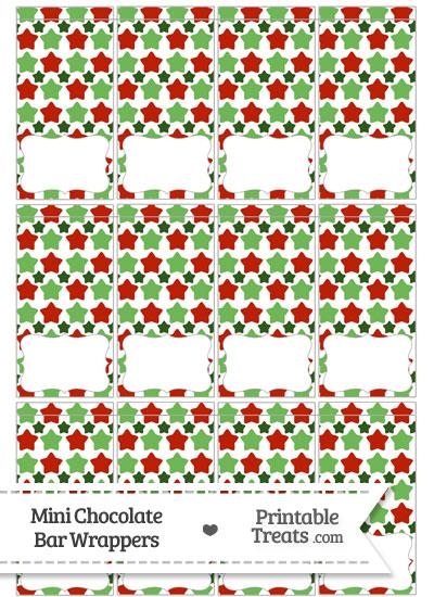 Christmas Stars Mini Chocolate Bar Wrappers from PrintableTreats.com