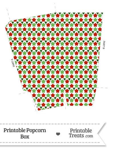 Christmas Stars Popcorn Box from PrintableTreats.com