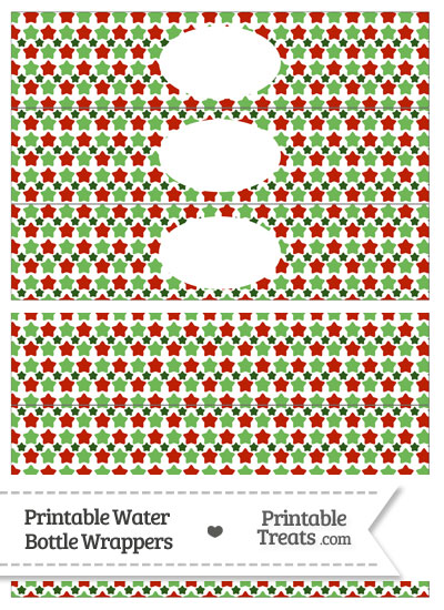 Christmas Stars Water Bottle Wrappers from PrintableTreats.com