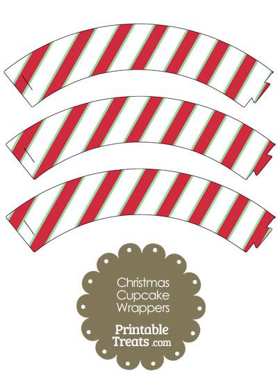 Christmas Stripes Cupcake Wrappers from PrintableTreats.com