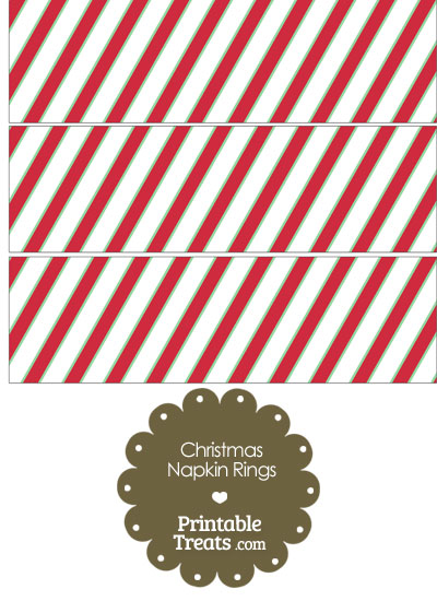 Christmas Stripes Napkin Rings from PrintableTreats.com