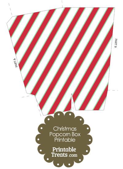 Christmas Stripes Popcorn Box from PrintableTreats.com