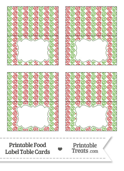 Christmas Swirls Food Labels from PrintableTreats.com