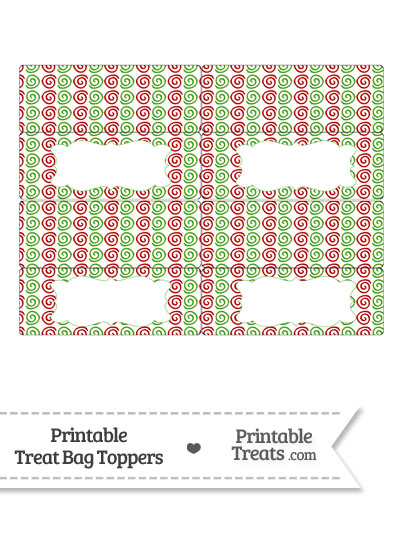Christmas Swirls Treat Bag Toppers from PrintableTreats.com