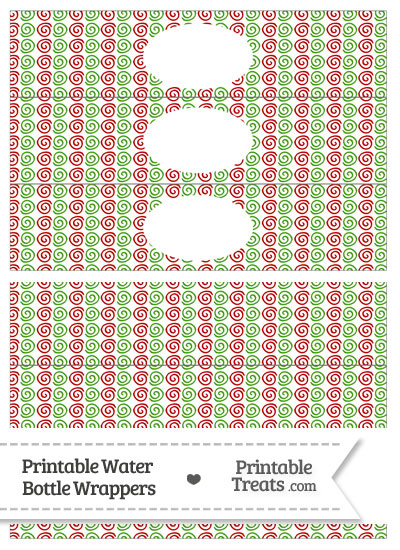 Christmas Swirls Water Bottle Wrappers from PrintableTreats.com