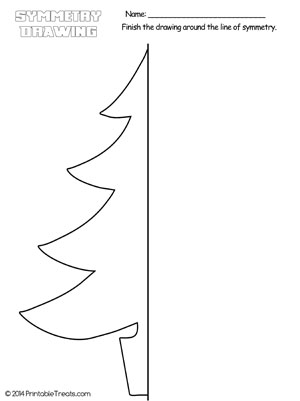 Christmas tree symmetry drawing worksheet