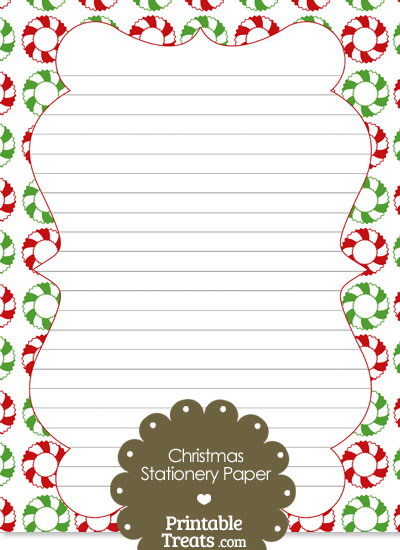 Christmas Wreath Stationery Paper from PrintableTreats.com
