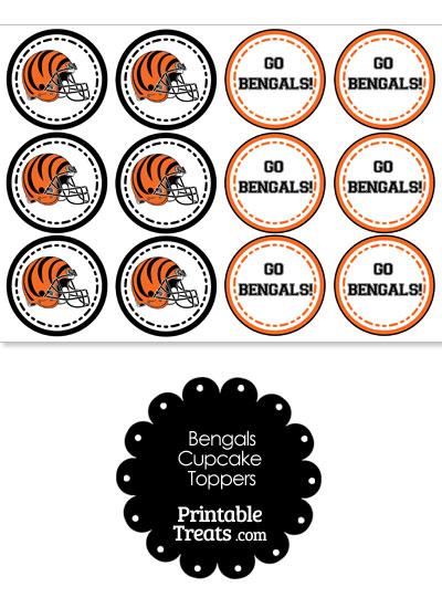 Cincinnati Bengals Cupcake Toppers from PrintableTreats.com