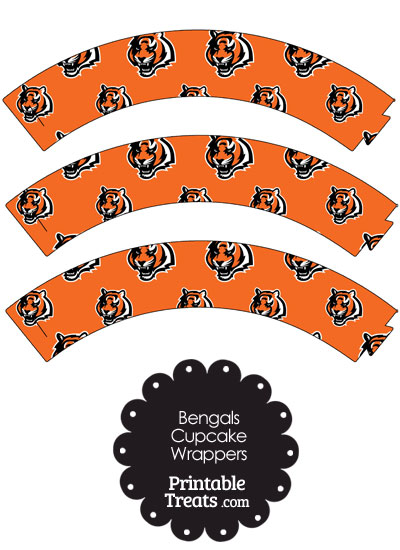 Cincinnati Bengals Logo Cupcake Wrappers from PrintableTreats.com