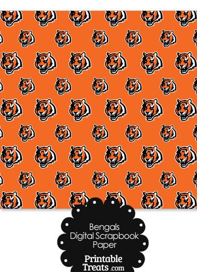 Cincinnati Bengals Logo Digital Paper from PrintableTreats.com