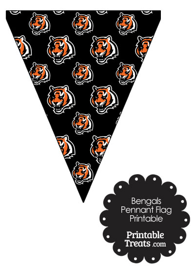 Cincinnati Bengals Logo with Black Background Pennant Banners from PrintableTreats.com