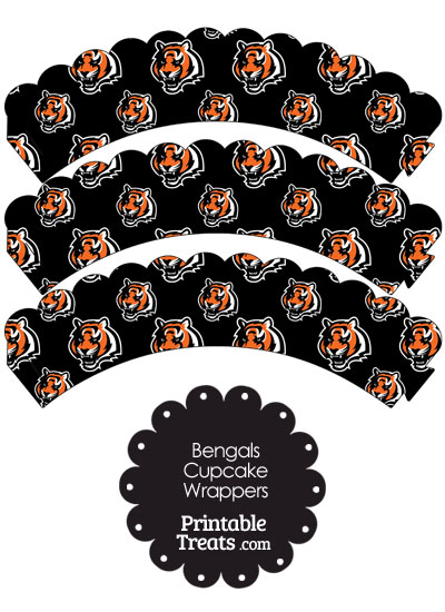 Cincinnati Bengals Logo with Black Background Scalloped Cupcake Wrappers from PrintableTreats.com