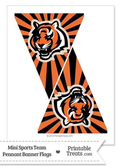 Cincinnati Bengals Mini Pennant Banner Flags from PrintableTreats.com