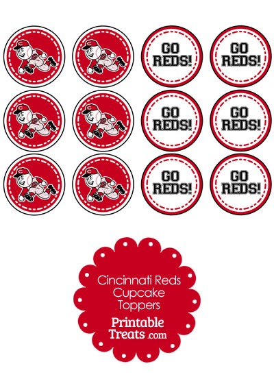 Cincinnati Reds Cupcake Toppers from PrintableTreats.com