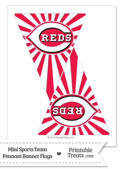 Cincinnati Reds Mini Pennant Banner Flags from PrintableTreats.com