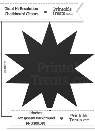 Clean Chalkboard Giant 10 Point Star Clipart from PrintableTreats.com